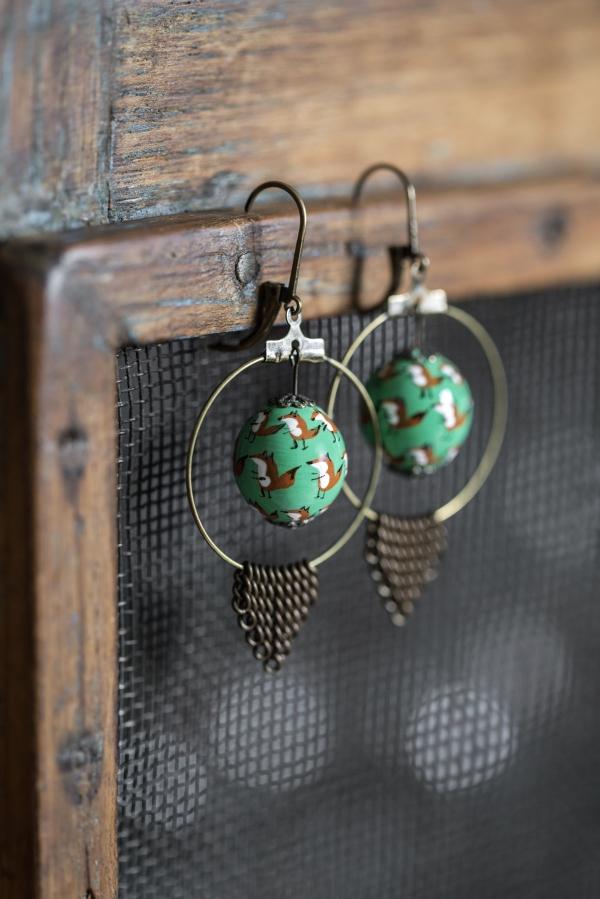 renard, boucles d'oreilles, vert, perle, vert, peint main, créateurs