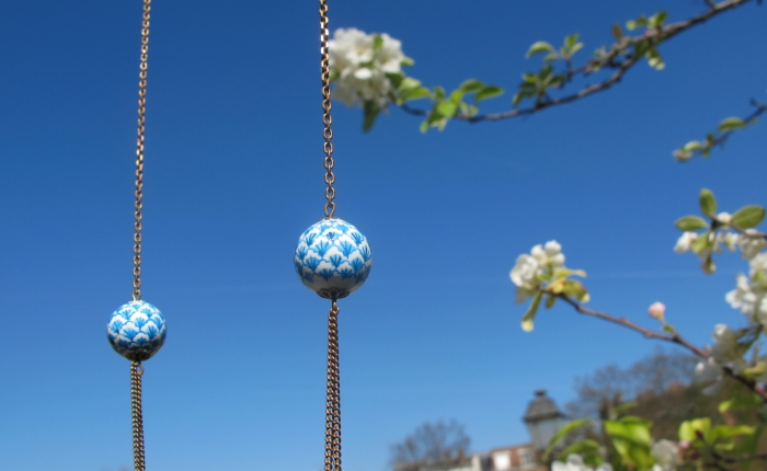 sautoir deux perles,bleu,coquille