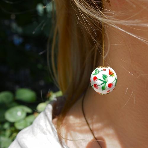 fraise, cerise, boucles d'oreille, perle bois, peint main
