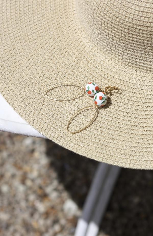 boucles d'oreilles, perle, orange, peint à la main
