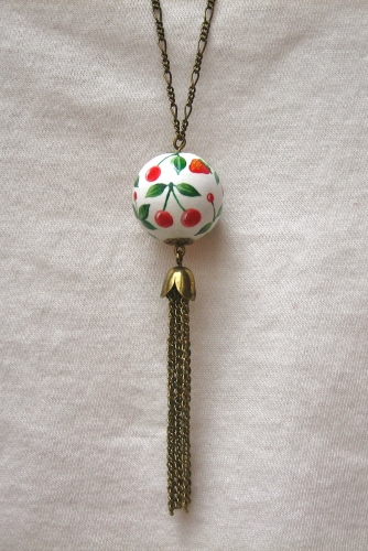 fraise, cerise, sautoir, perle bois, peint main