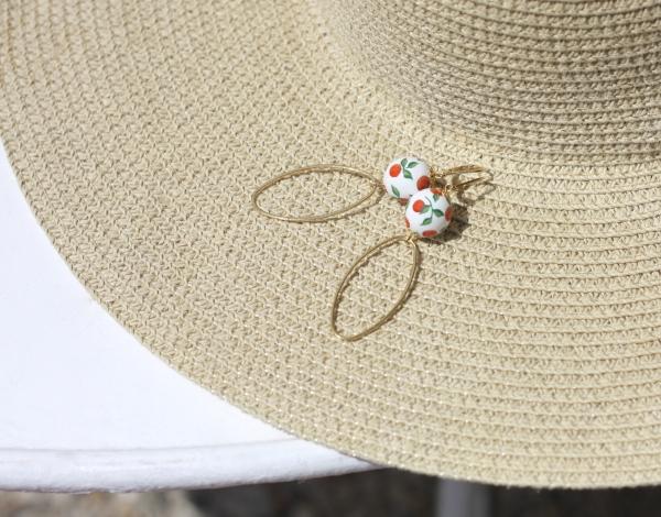 boucles d'oreilles, perle, orange, peint à la main, les Soeurs Héraud