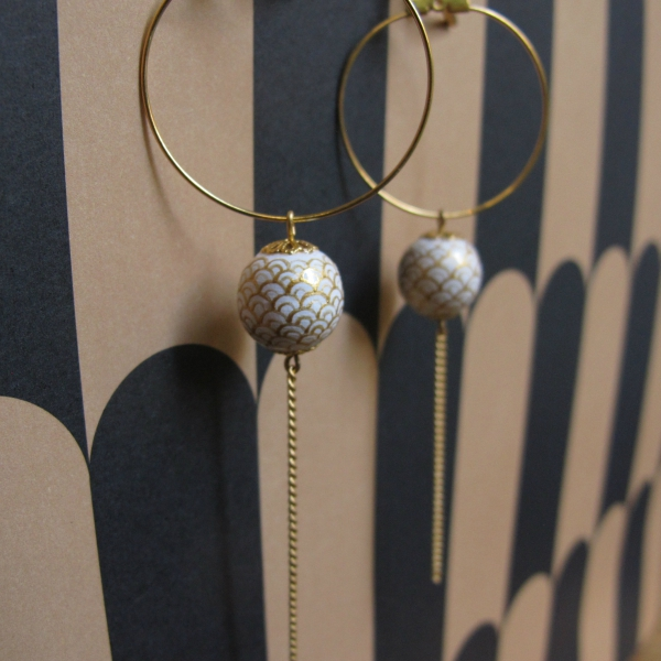 or, vague, boucles d'oreilles