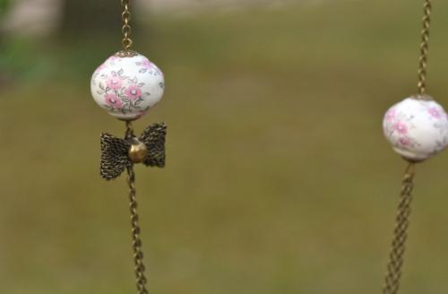 sautoir, noeud, peint main, perle bois, fleurs, rose