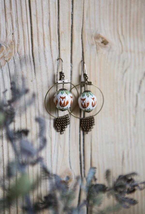 renard, boucles d'oreilles, perle, vert, peint main, créateurs
